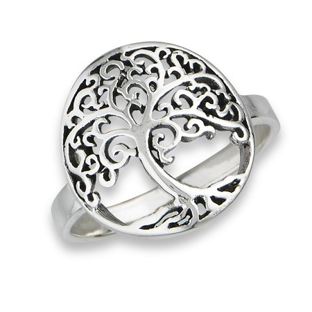 Women's New .925 Sterling Silver Round Filigree Tree of Life Ring Sizes 6-9 ()