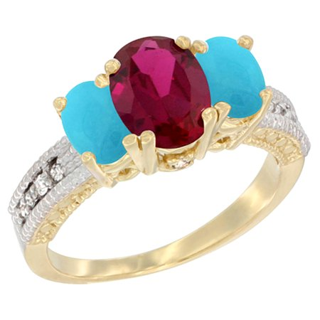 14K Yellow Gold Diamond HQ Ruby Ring Oval 3-stone with Turquoise, size 8.5
