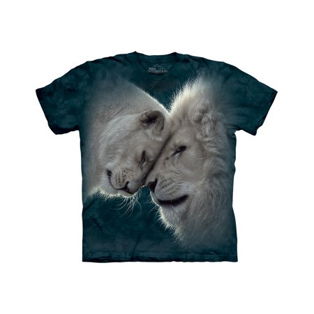 The Mountain WHITE LIONS LOVE Green Adult Unisex T-Shirt
