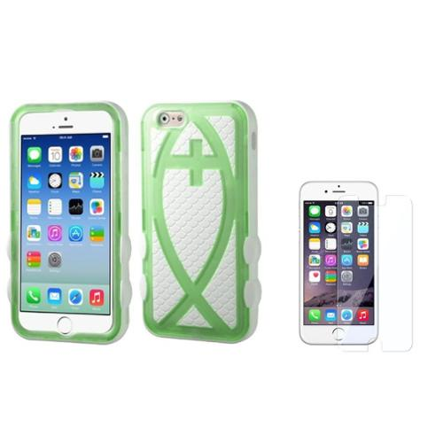 "Insten T-Green/Solid White Fish Hard Silicone Hybrid Case For iPhone 6S / 6 4.7""+Protector"