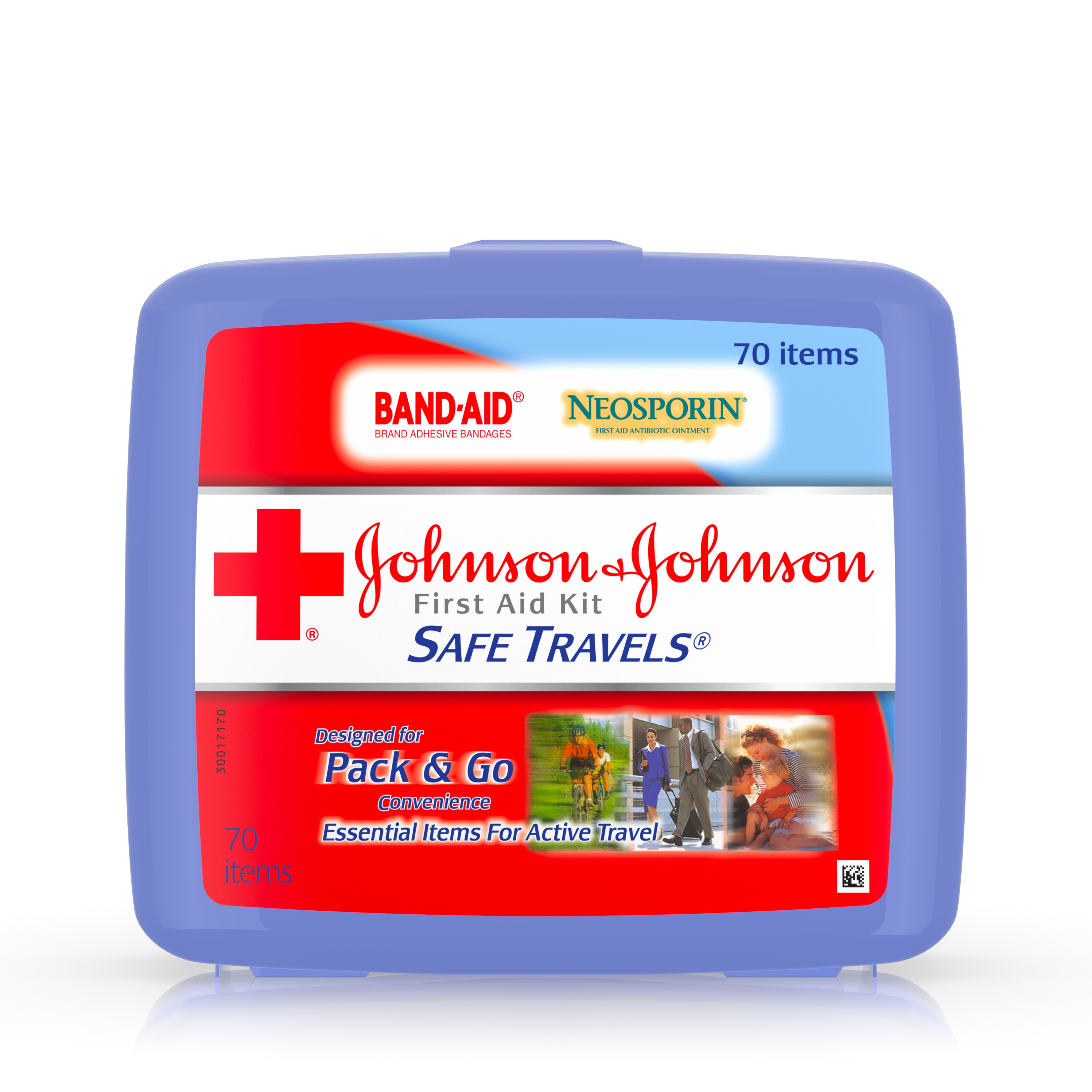 Johnson & Johnson Safe Travels First Aid Kit, 70 pc
