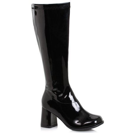 Black Gogo Boots (Women's 3 inch Wide Width Black GoGo Boot Halloween Costume)