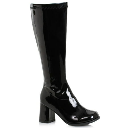 Women's 3 inch Wide Width Black GoGo Boot Halloween Costume Accessory