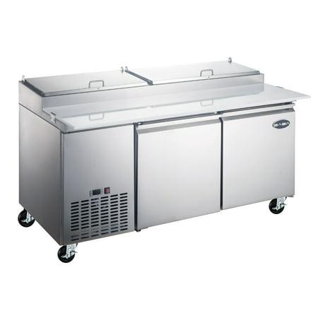 """Heavy Duty Commercial 67"""" (2 Door) Pizza Prep Table Refrigerator"""