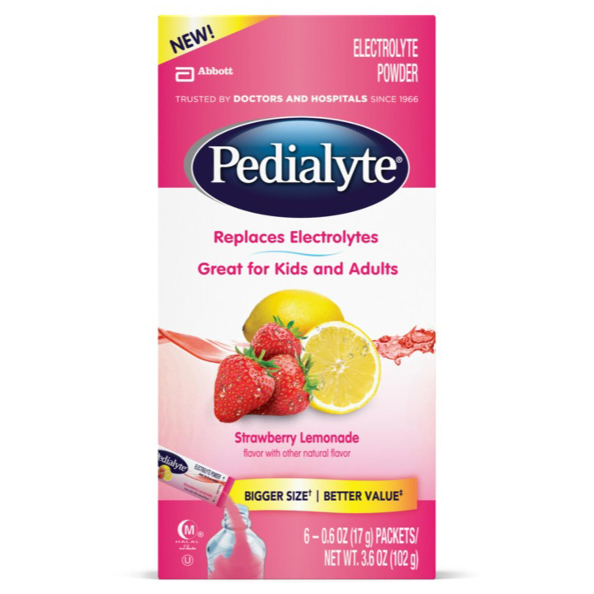 Pedialyte Electrolyte Drink Powder (6-6 Packs) Strawberry Lemonade 0.6 oz