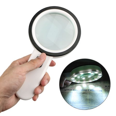 Stamp Coin Magnifier (EEEkit 12 LEDs Light 30X Handheld Magnifying Glass, Large Double Glass Lens Led Magnifiers for Seniors Reading, Coins, Stamps, Map,Inspection )