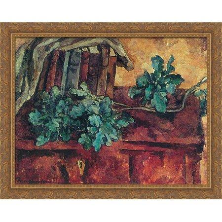 Still Life. Oak branch. 34x28 Large Gold Ornate Wood Framed Canvas Art by Pyotr Konchalovsky