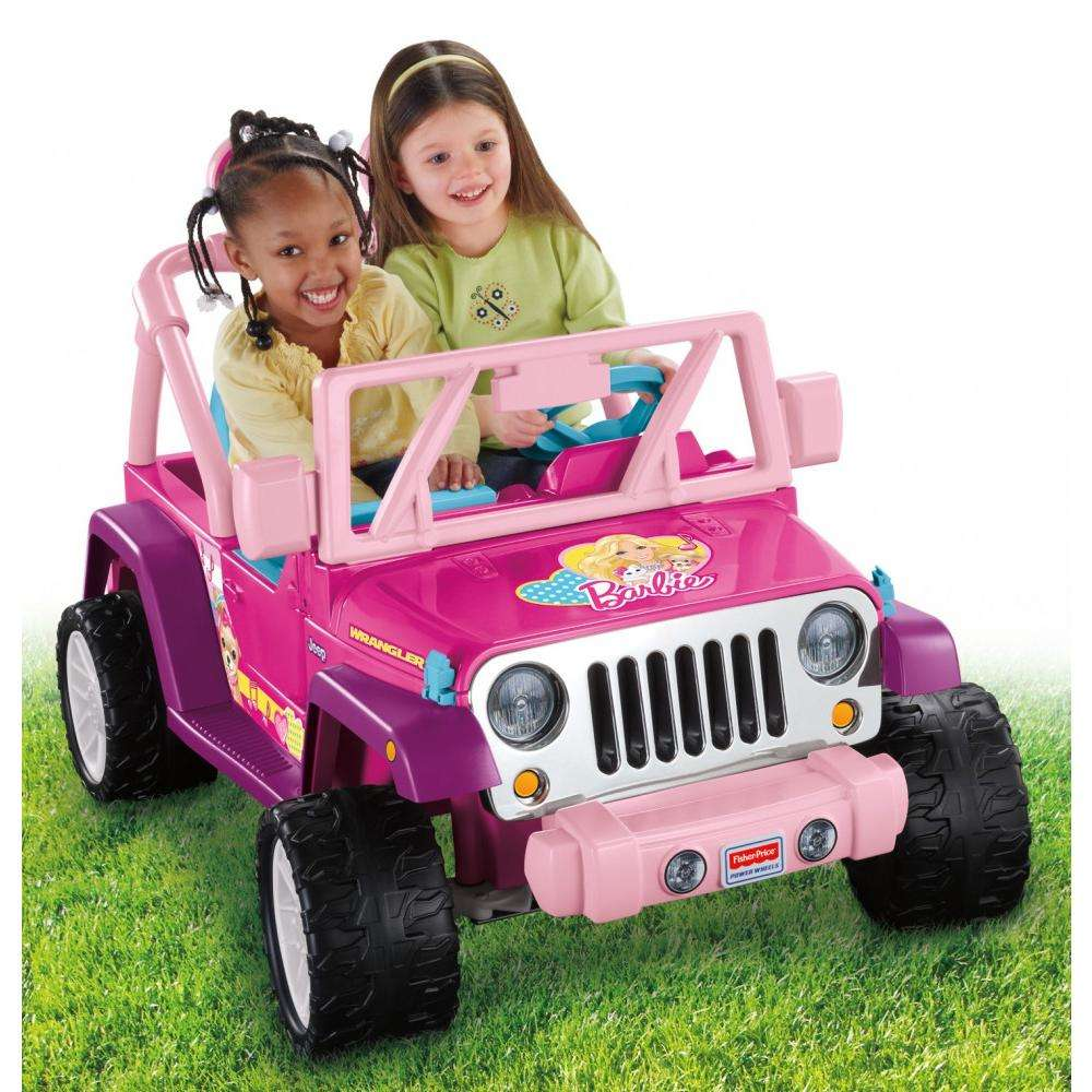 Power Wheels Barbie Jammin' Jeep Wrangler 12-Volt Battery-Powered Ride-On, Pink by Fisher-Price