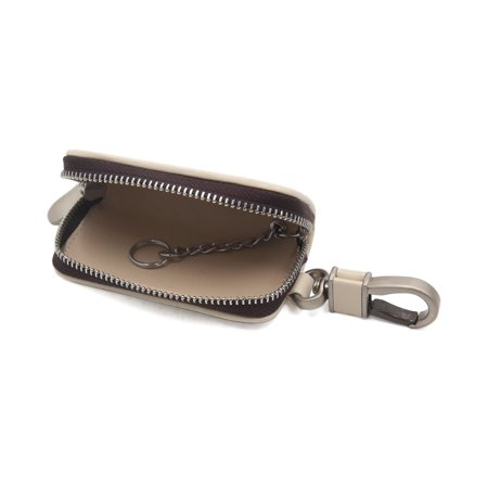Brown Beige Faux Leather Cross Design Key Coin Storage Holder Zipper Bag for Car - image 1 de 2