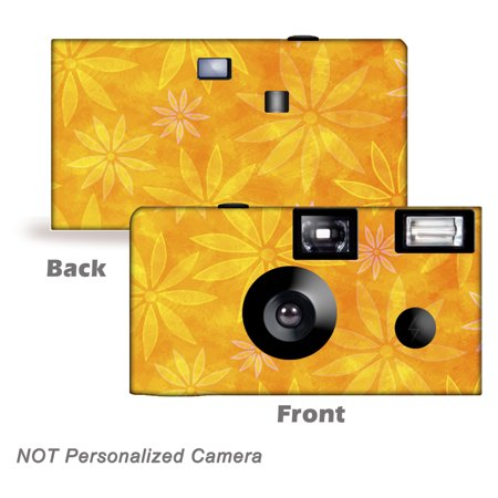 5 Pack Orange Daisies Disposable Cameras. Free shipping.  Birthday Cameras, Wedding Cameras, Event Cameras, from CustomCameraCollection WM-50501-C