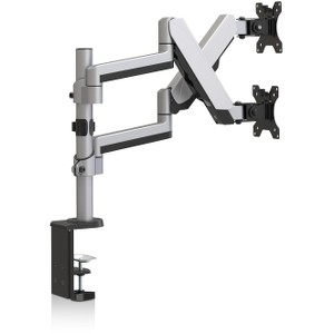 """V7 DM1DTAS-1N Dual Stack Touch Adjust 32"""" Monitor Mount 34lbs Max Cap - Silver"""
