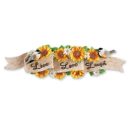 Sunflower Live Love Laugh Wall Décor - Scrolling Banner Design with Bird Accents ()