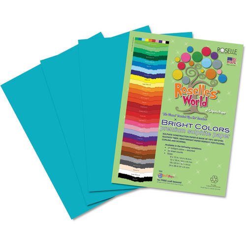 """Roselle Premium Sulphite Construction Paper, 12"""" x 18"""", 50 Sheets/Pack, Available in Multiple Colors"""