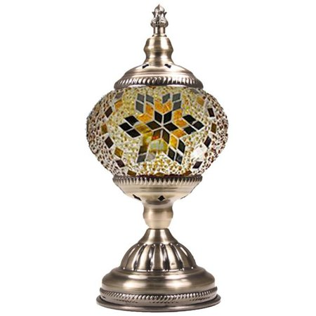 - Silver Fever Handcrafted Mosaic Turkish Lamp -Moroccan Glass - Table Desk Bedside Light- Bronze Base (Golden Star of David)