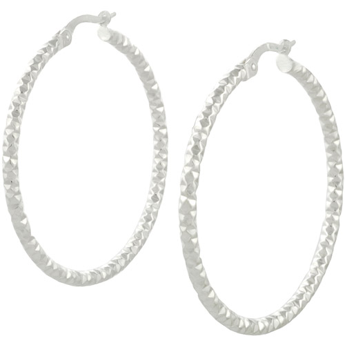 Brinley Co. Sterling Silver Italian Fancy Hoop Earrings