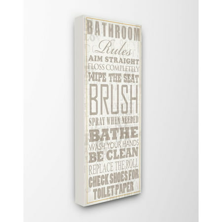The Stupell Home Decor Collection Bathroom Rules Tan and White Distressed Overlay Typography Canvas Wall (Canvas Overlay)
