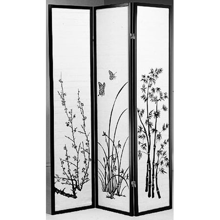 Legacy Decor Black 3 Panel Japanese Oriental Style Bamboo Flower Design Wood Shoji Screen Room Divider ()