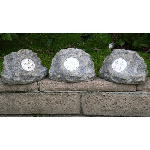 Homebrite Solar Power Jumbo Grey Rock Spot Lights - Set of 3
