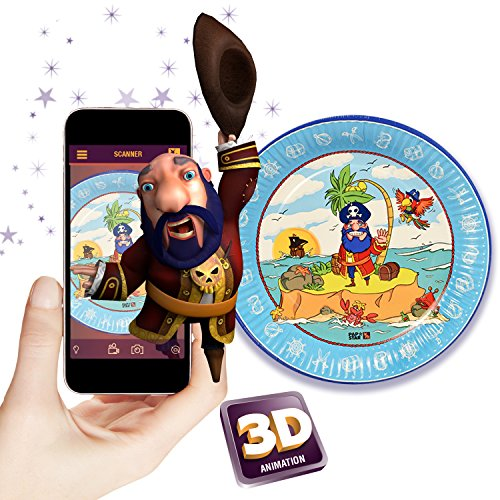 Pirate 3D Augmented Reality Paperplates Party Supplies (Set of 10) - Compatible with iOS & Android Download The Magic Xperience APP At No Charge!