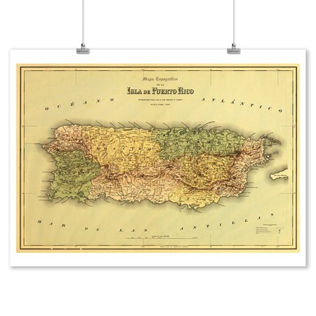 Puerto Rico - (1886) - Panoramic Map (9x12 Art Print, Wall Decor Travel (Printable Map Of Puerto Rico For Kids)