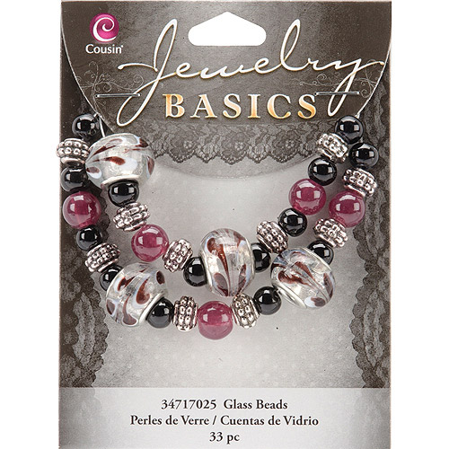 Cousin Jewelry Basics Glass Bead Mix Large Hole, 33pk