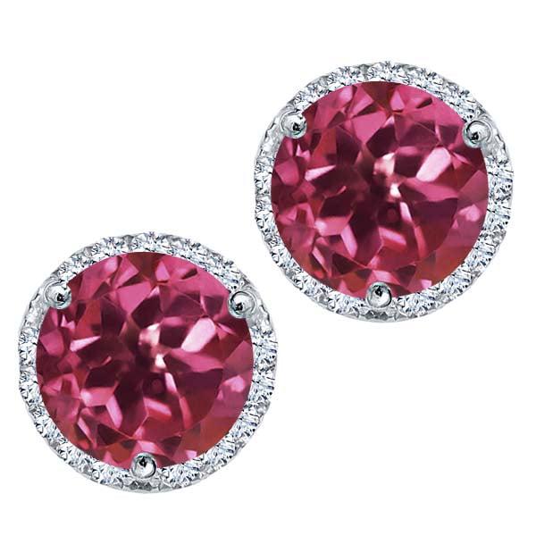 1.21 Ct Round Pink Tourmaline White Diamond 18K White Gold Earrings by
