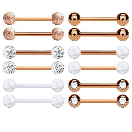 BodyJ4You 12PC Nipple Rings Tongue Barbells 14G Women Rose Goldtone CZ Crystal Piercing Jewelry Set