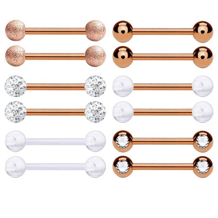 BodyJ4You 12PC Nipple Rings Tongue Barbells 14G Women Rose Goldtone CZ Crystal Piercing Jewelry