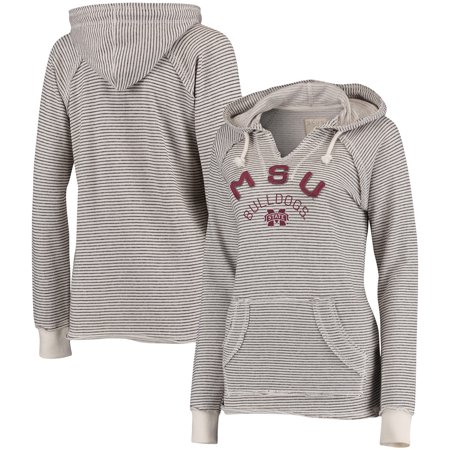 Mississippi State Bulldogs Blue 84 Women's Striped French Terry V-Neck Hoodie - Cream