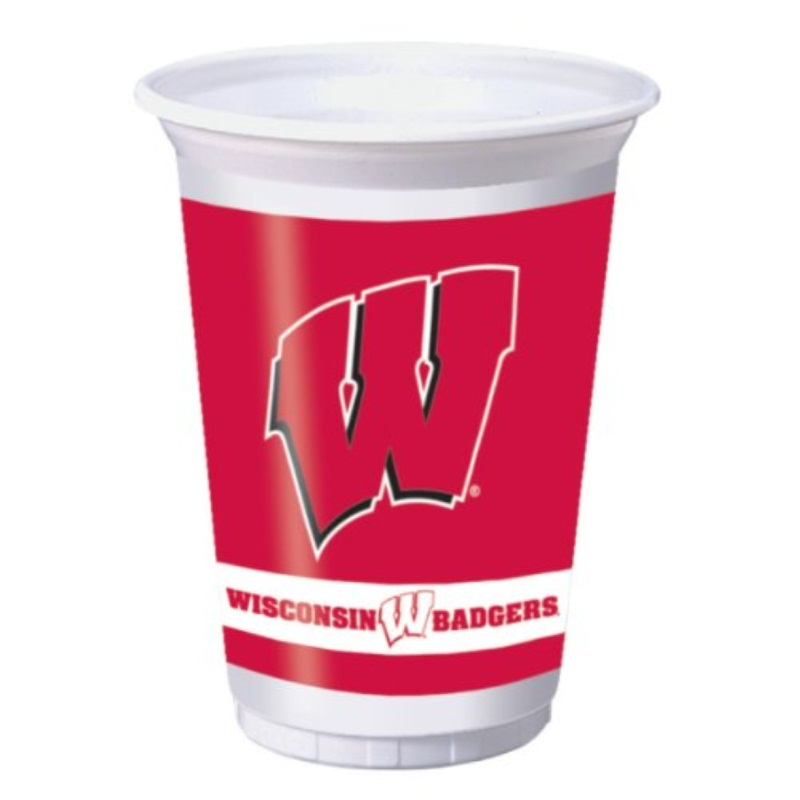 wisconsin badgers 20 oz. plastic cups, 8-count