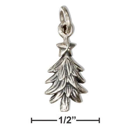 Sterling Silver Three Stars - Sterling Silver Christmas Tree Charm with Star