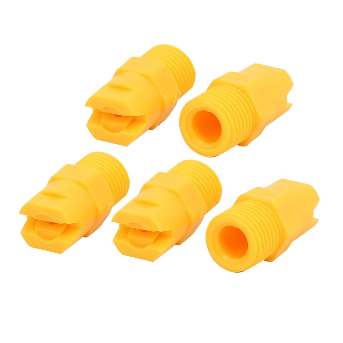 1/4PT Male Thread 80 Degree PP Standard Veejet Flat Fan Spray Tip Yellow 5pcs