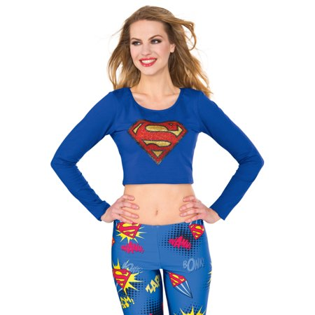 Adult's Womens Classic DC Comics Supergirl Crop Top Shirt Costume (Supergirl Costumes For Women)