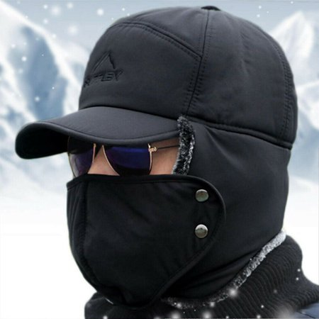 Mens Winter Russian Aviator Bomber Hat Trooper Ear Flap Snow Ski Elmer Fudd Cap ()
