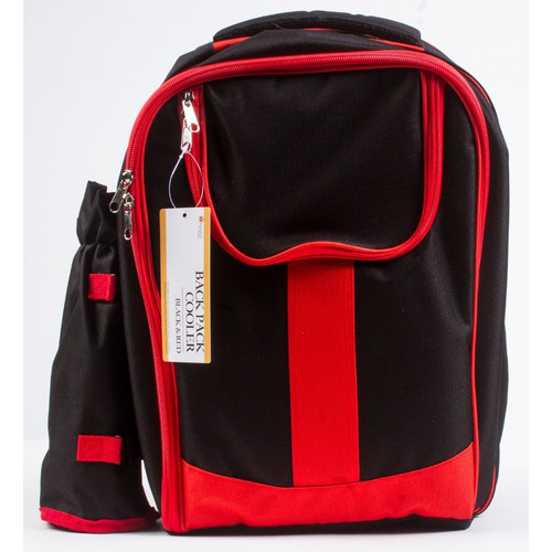 Insulated Picnic Backpack with Two Place Setting- Red Black