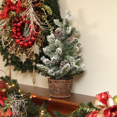 2' Potted Flocked Pine Artificial Christmas Tree with Wicker Base - Unlit ()