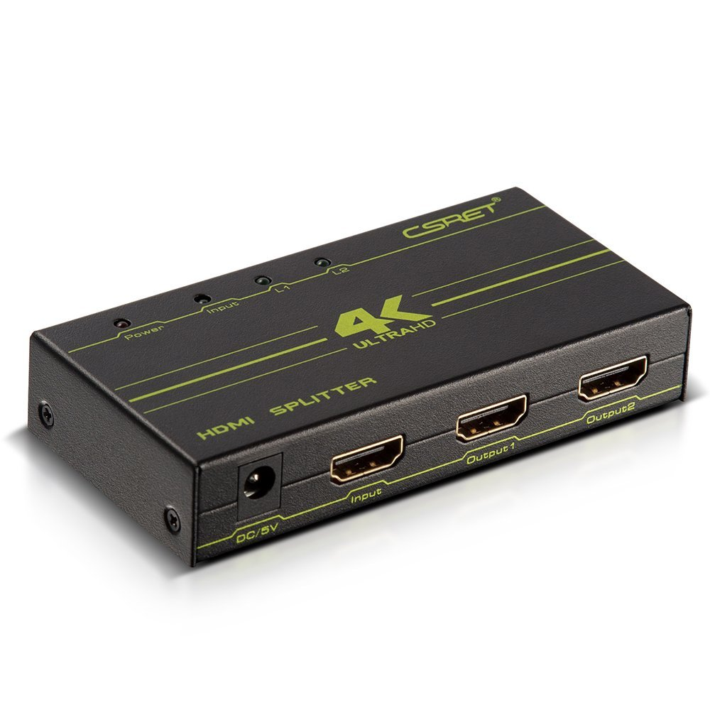 CSRET Ultra HD HDMI Splitter 1 in 2 out Amplified Powered Splitter / Signal Distributor Ver 1.3 Certified Support Full 2Kx4K 1080P 3D Mode for PS XBOX DVD etc.