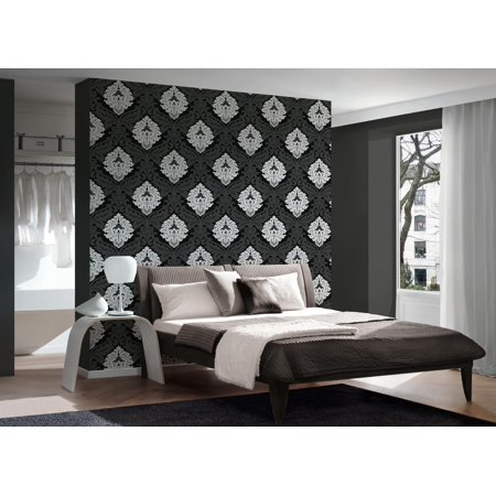 B&W 3 - Black and White Look Metallic, White Wallpaper Sample, Modern Wall  Decor