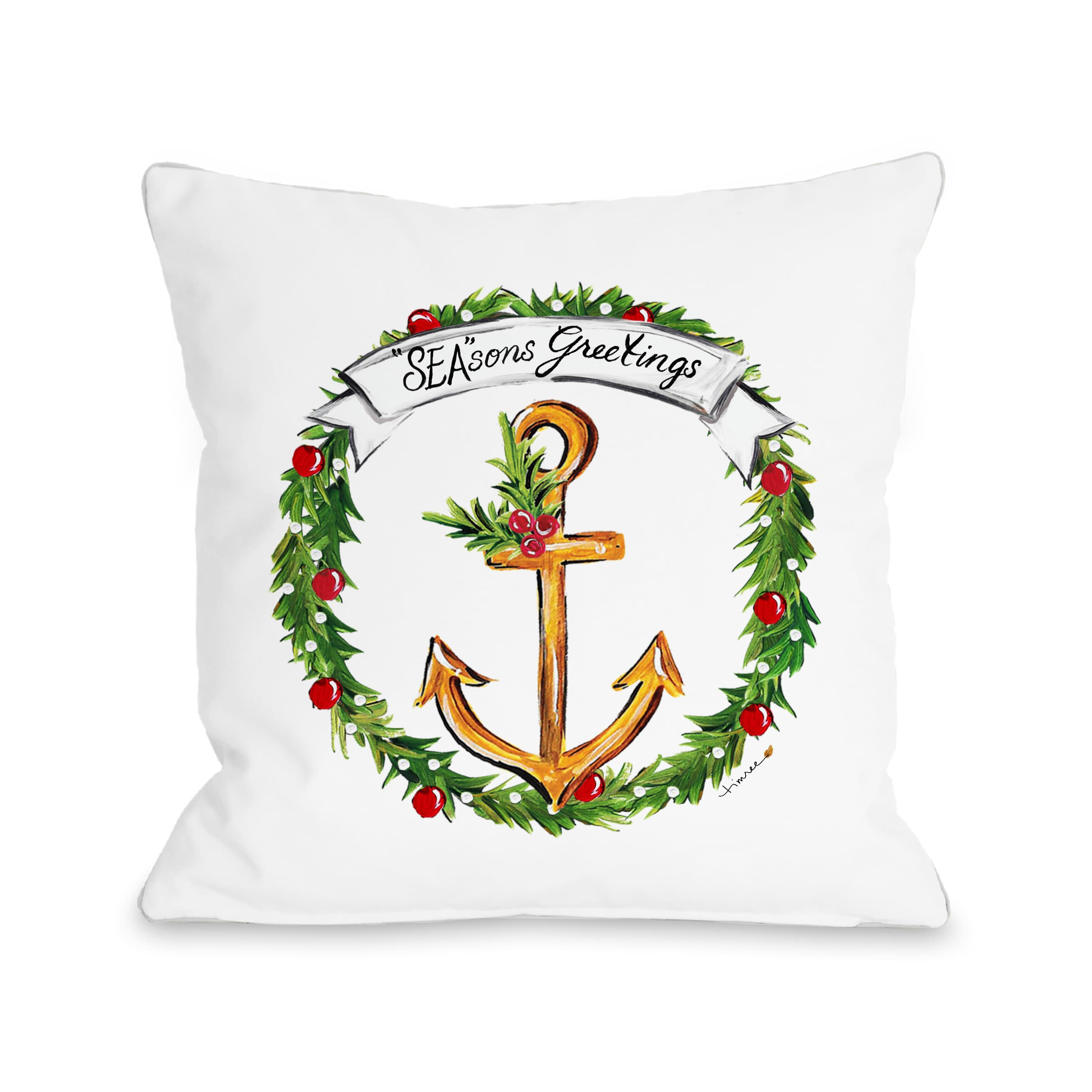 Anchor Wreath - Multi 16x16 Pillow by Timree Gold