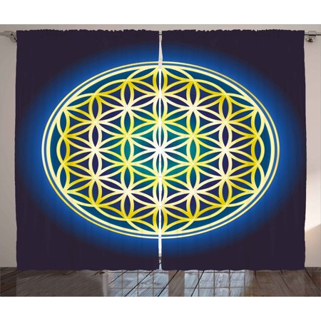 Abstract Curtains 2 Panels Set  Nature Spirals Flower Of Life Artistic Energy Sacred Illustration  Window Drapes For Living Room Bedroom  108W X 90L Inches  Indigo Violet Blue Yellow  By Ambesonne