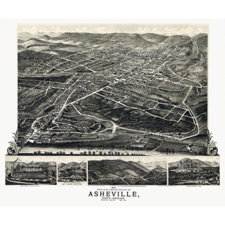 Vintage Map of Asheville North Carolina 1891 Buncombe County Poster Print