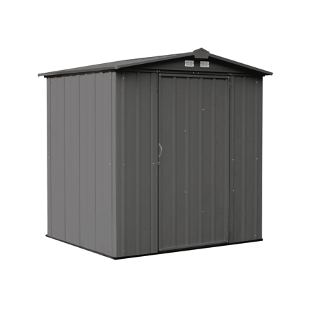 EZEE Shed Steel Storage, 6 x 5 ft, Galvanized Low Gable Charcoal, Steel Metal Shed for Outdoor Storage
