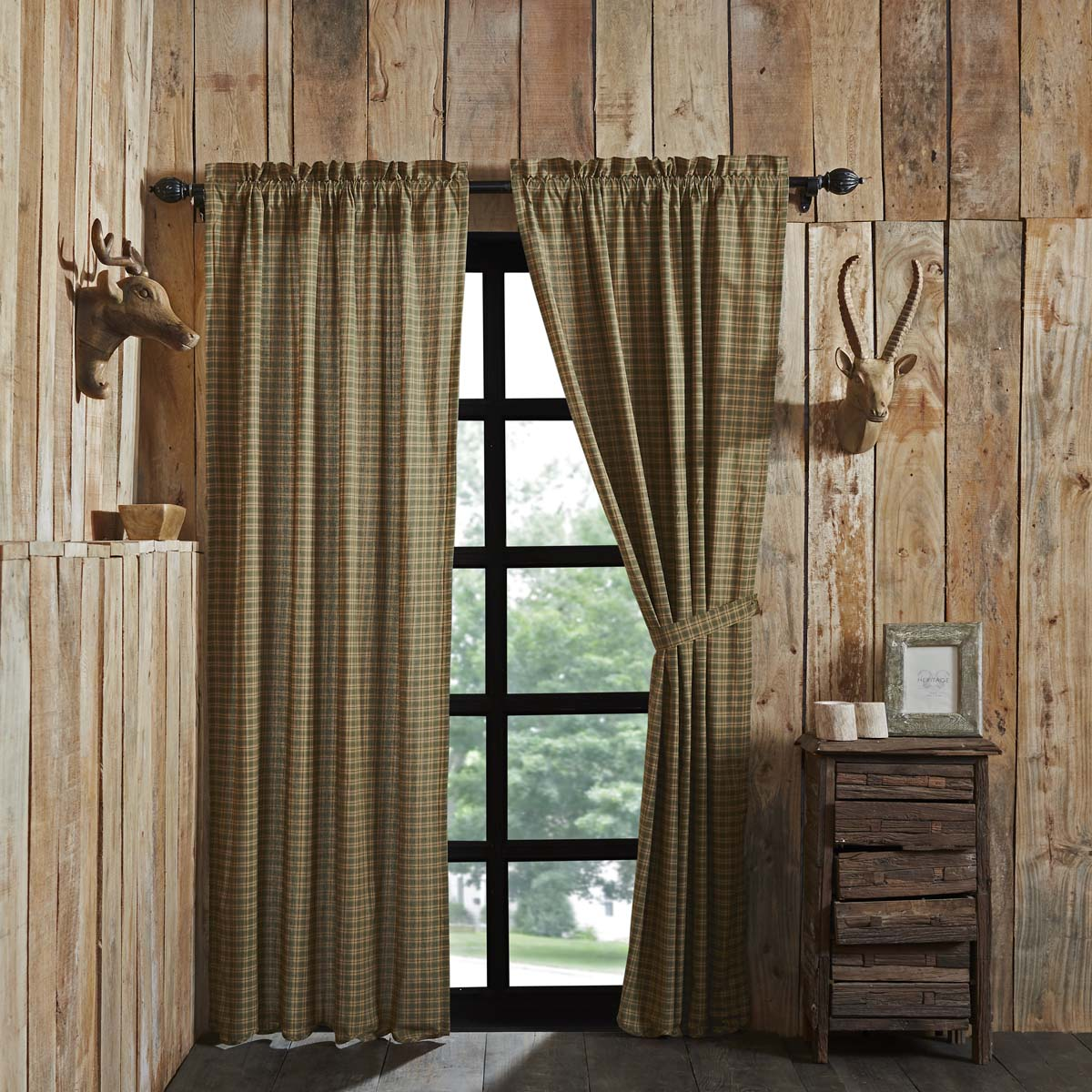 Deep Green Rustic & Lodge Curtains Barrington Rod Pocket