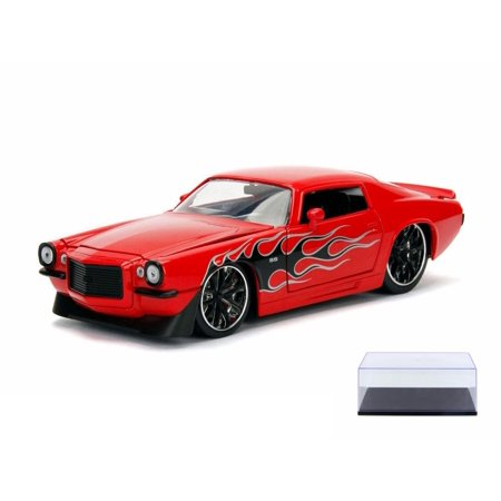 Diecast Car & Display Case Package - 1971 Chevy Camaro, Red w/ Flames - Jada 99977DP1 - 1/24 Scale Diecast Model Toy Car w/Display Case