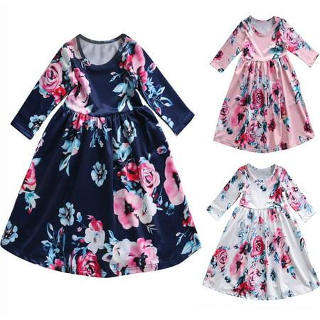 NEW Toddler Kids Baby Girls Boho Long Foral Princess Party Prom Beach Maxi Dress - Kids Maxi Dress