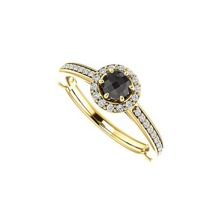 0.75 CT 18K Yellow Gold Vermeil Round Black Onyx & Cubic Zirconia Halo Ring, Size 6 - image 1 of 1