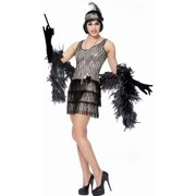 Gold Sequins Broadway Womens Adult Roaring 20s Flapper Costume