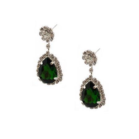Wedding Earrings Silver Emerald Green Rhinestone Tear Drop Earrings