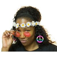 Groovy Hippie Instant Dress Up Kit Includes Headband, Glasses and Earrings