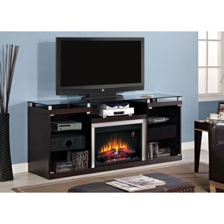 Albright TV Stand with 25″ Curved Infrared Quartz Fireplace, Espresso